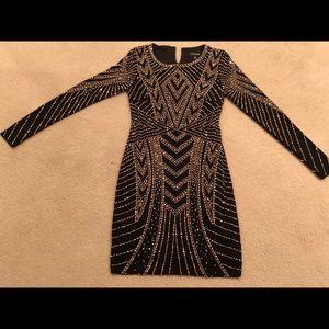 Xscape beaded bodycon dress, black, size 4
